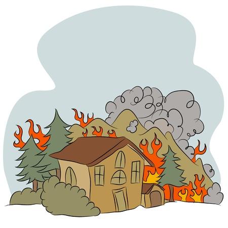 Een beeld van een bosbrand.