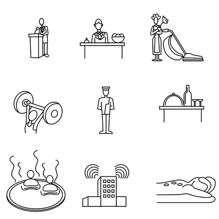 Een afbeelding van een hotel icon set.