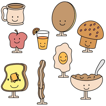 An image of breakfast items. Vector