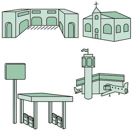 An image of different types of buildings. Illustration