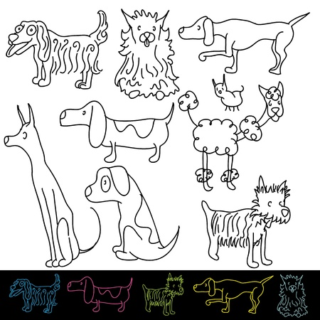 An image of a set of dog breeds. Illustration