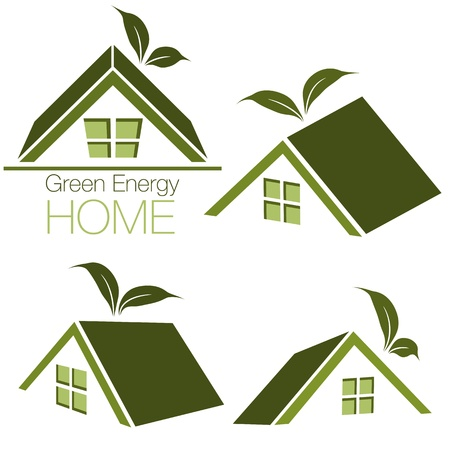 An image of a green energy home icon set.  イラスト・ベクター素材