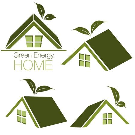 An image of a green energy home icon set. Illusztráció