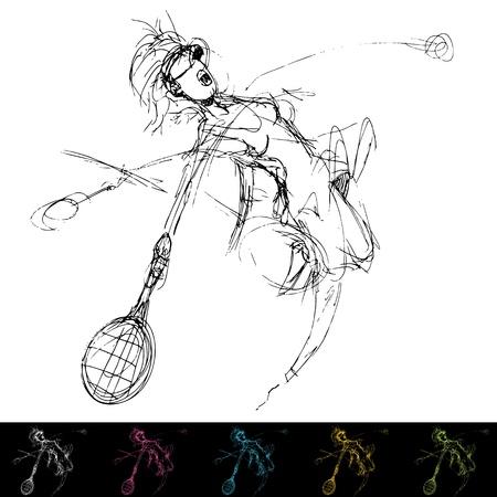 golpeando: Una imagen de una mujer que golpea una pelota de tenis. Vectores
