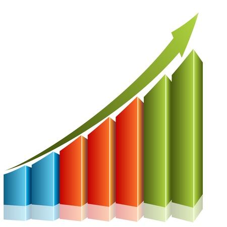 Een afbeelding van een 3d consistente groei grafiek. Stock Illustratie