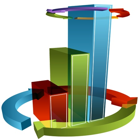 floating market: An image of a 3d wrapped arrow bar chart.