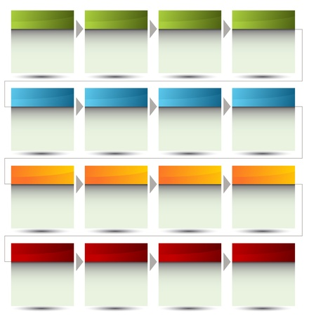 color chart: An image of a 3d boxed flow chart. Illustration