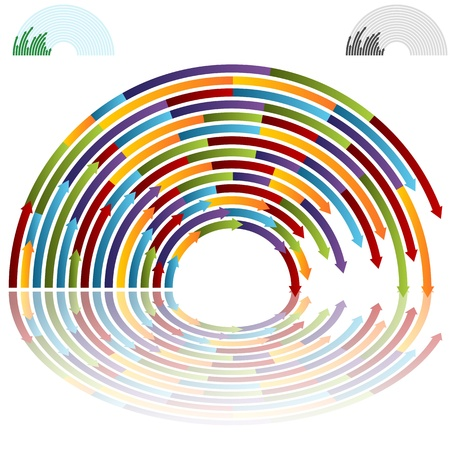 curving: An image of rainbow arch arrows. Illustration