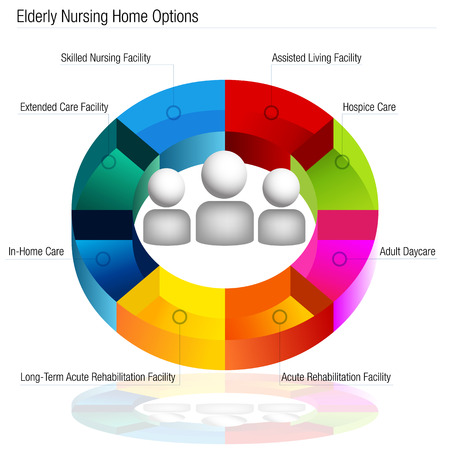 An image of a 3d elderly nursing home options chart.