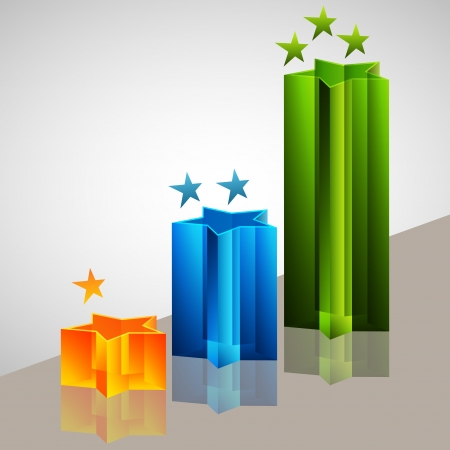 3 d illustrations: An image of a 3d star bar chart.