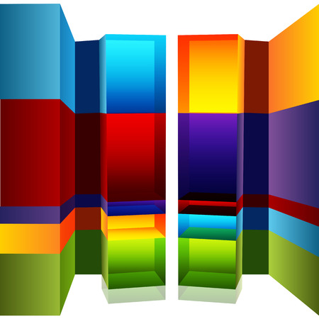 categories: An image of a 3d bar chart with callouts. Illustration
