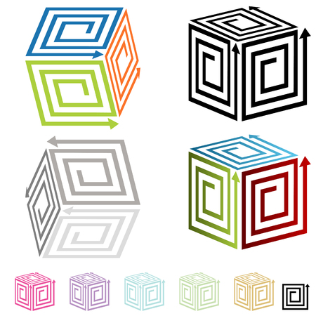 3 d illustrations: An image of 3d spiral arrow boxes.