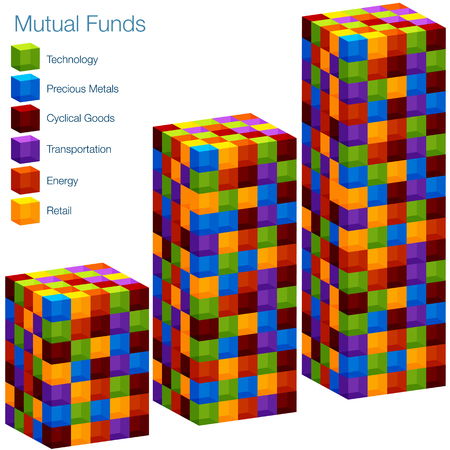 mutual fund: An image of a 3d mutual fund bar chart.