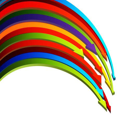 flechas curvas: Una imagen de 3d flechas curvas uno sobre el otro.