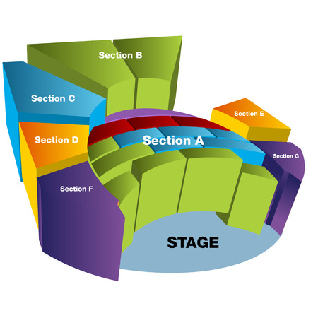 seating: An image of a 3D stadium seating chart. Illustration