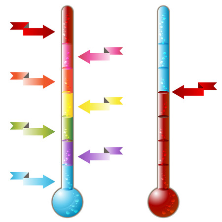 An image of a 3d thermometer with pointing arrows. Vector