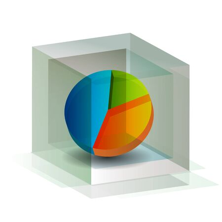 An image of a 3d pie chart contained within a cube.