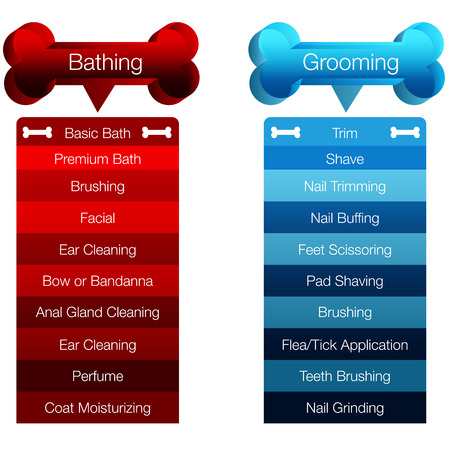grooming: An image of a dog grooming menu chart. Illustration