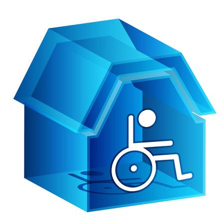 seniorenheim: Ein Bild von einem 3d Pflegeheim-Symbol. Illustration