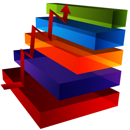 An image of a 3d step chart. Vector