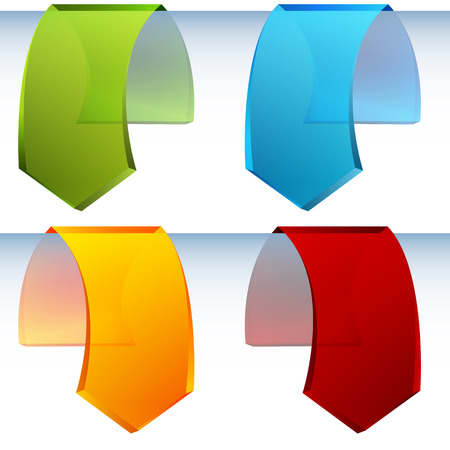 overlapping: An image of 3d hanging arrow tags. Illustration
