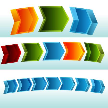 curving: An image of a 3d curving arrow process chart.