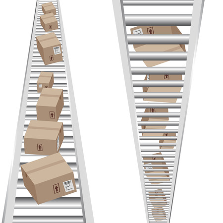 assembly line: An image of 3d boxes moving on a vertical conveyor belt.