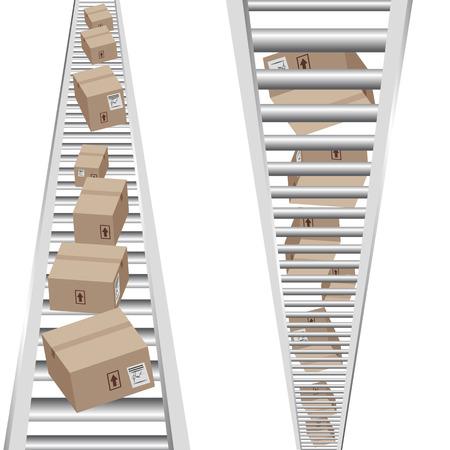 fliesband: Ein Bild von 3D-Boxen Umzug auf einer vertikalen F�rderband.