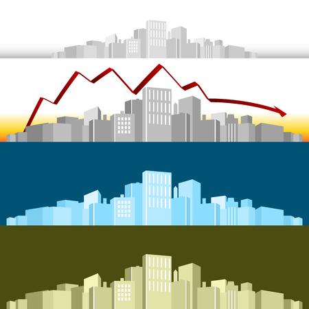 An image of a 3d cityscape with a profit arrow.