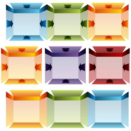An image of a 3d folded arrow chart. Çizim