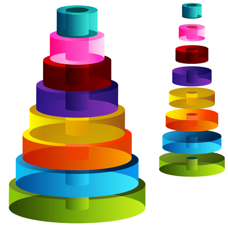 tiered: An image of 3d tiered cylinders. Illustration
