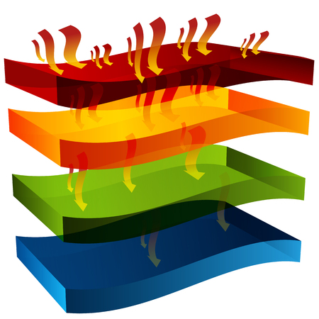 absorption: An image of a 3d heat barrier chart. Illustration
