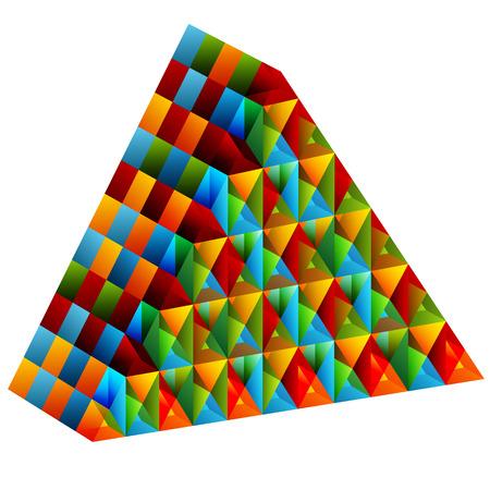 An image of a 3d collective pyramid. Ilustração