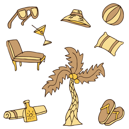 An image of vacation travel objects. Vector
