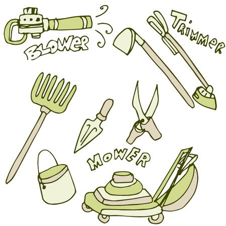 An image of gardening tools. Vector