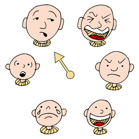 A set of faces showing different face expressions over time. Vector