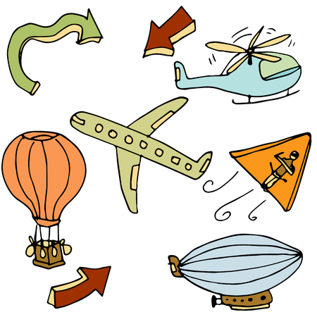 An image of a air travel objects. Vector