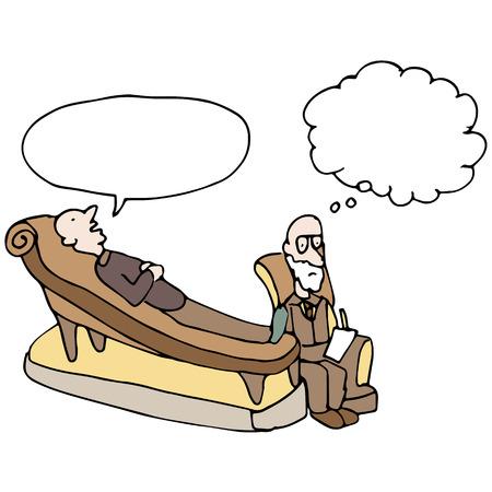 Una imagen de un hombre en una sesión de terapia. Ilustración de vector