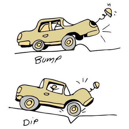 golpeando: Una imagen de un coche de golpear un bache y ba�o en la carretera.