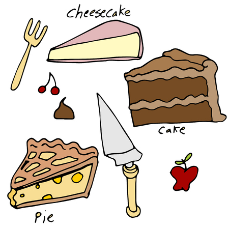 An image of cake and pie desserts.