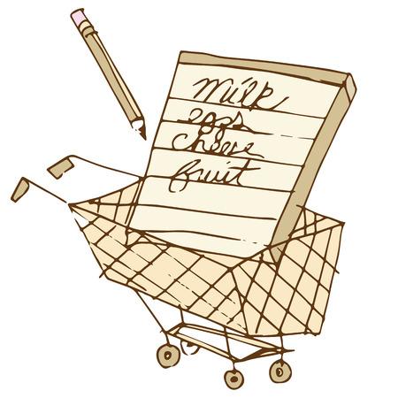 장바구니에 쇼핑 목록의 이미지.