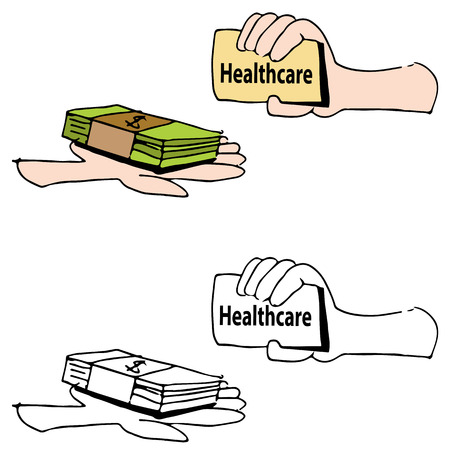 exchanging: An image of a hand exchanging money for healthcare card.