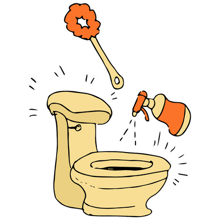 An image of a toilet being cleaned. Çizim