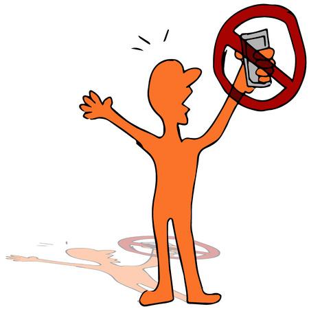 no cell: Una imagen de un hombre no es capaz de utilizar su tel�fono.