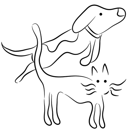 An image of an abstract cat and dog. Stock Vector - 22713172
