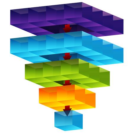 Een afbeelding van een 3d kubus trechter. Stock Illustratie