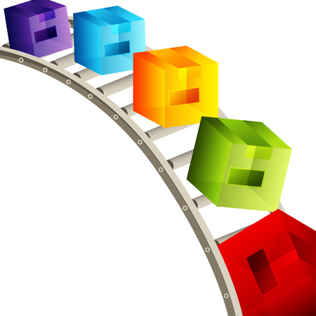 conveyor: An image of a 3d cube conveyor belt.