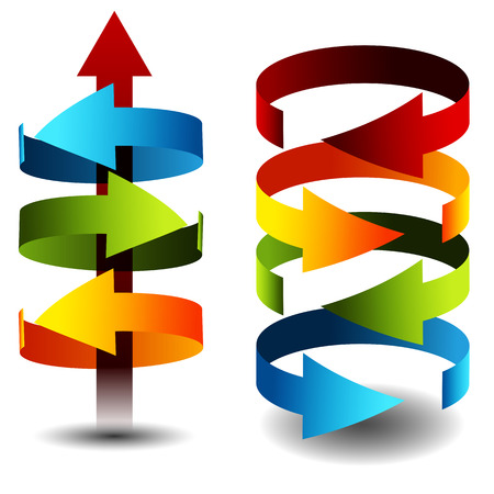 flechas curvas: Una imagen de cilindros flecha 3d. Vectores