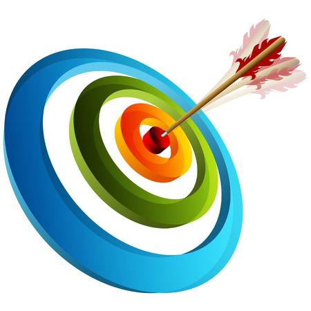 An image of a 3d arrow striking a target. Vectores
