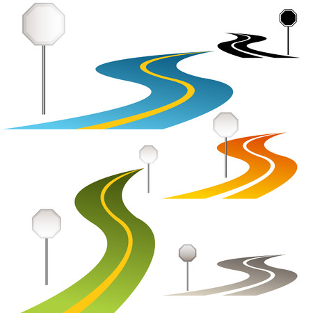 An image of a set of road signs along a curving road. Vector